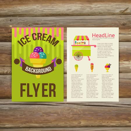 抽象的なチラシ パンフレット デザイン ベクトル テンプレートです。スタイリッシュなアイスクリーム、ベクトル イラスト  イラスト・ベクター素材
