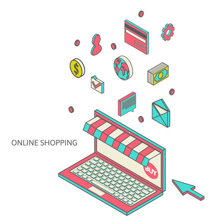 mobile marketing: flat 3d isometric art modern design concept vector icons. Icons for mobile marketing and online shopping