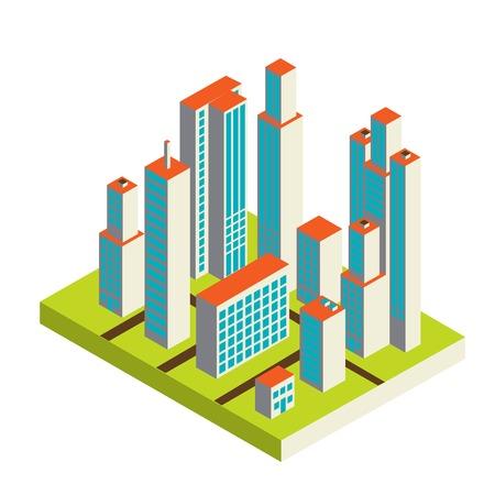central park: Vector centro de la ciudad isom�trica en el mapa con un mont�n de edificios, rascacielos, f�bricas y parques Vectores