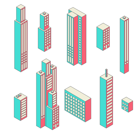 Set of vector tall buildings in shades on a white background