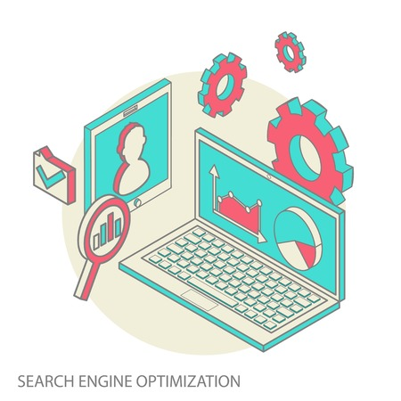 Isometric design modern vector illustration concept of website analytics and SEO data analysis using modern electronic and mobile devices