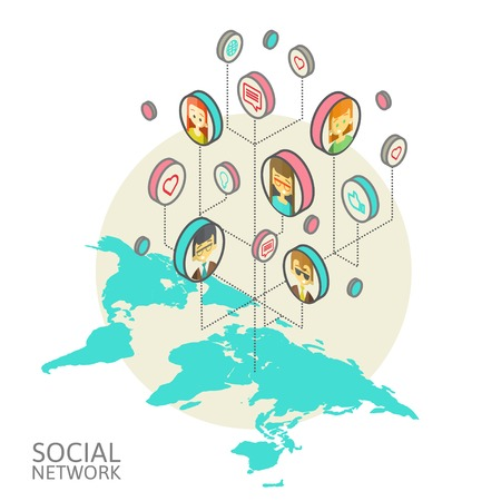 isometry: Conceptual image with social networks. Flat isometry, vector illustration