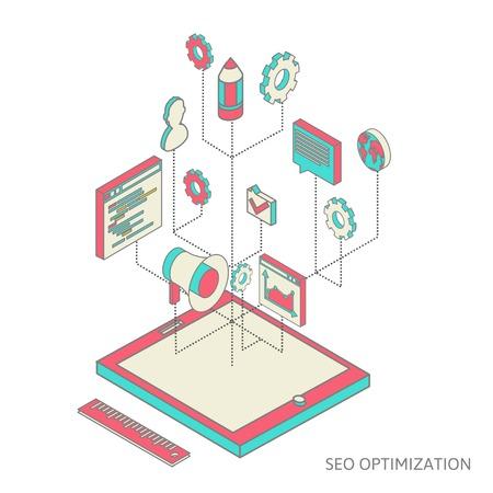 isometric  background seo optimization. SEO concept vector illustration