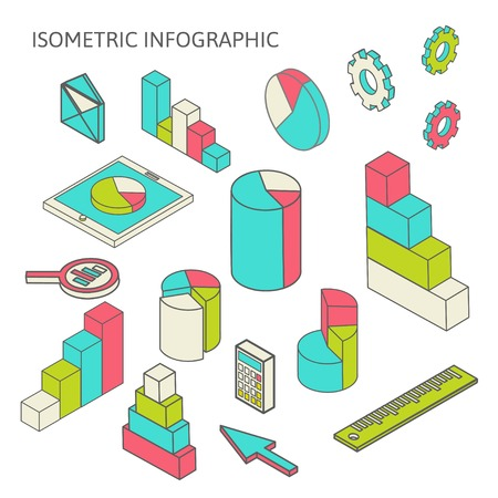Flat 3d isometric business finance analytics, chart graphic report on tablet web infographic concept  Vector