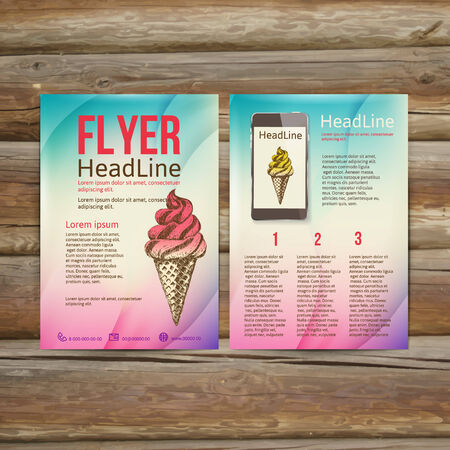摘要宣传册传单设计矢量模板。时髦的冰淇凌,传染媒介例证