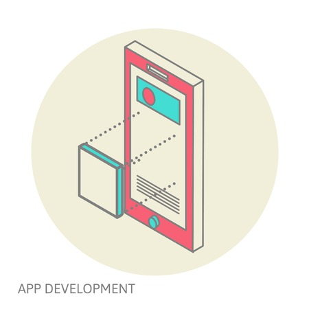smart phone: Isometric design of mobile and desktop website design development process, vector illustration Illustration