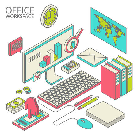 computerized: Flat 3d isometric computerized technology designer workspace infographic concept vector. Illustration