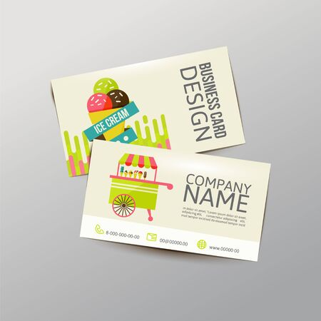 现代简单的轻工名片模板。时髦的冰淇凌,传染媒介例证