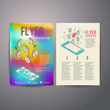 Abstract  Brochure Flyer design vector template. social Networks vector illustration Vector