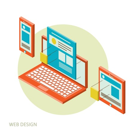 web elements: Isometric design of mobile and desktop website design development process