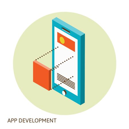 mobile website: Isometric design of mobile and desktop website design development process