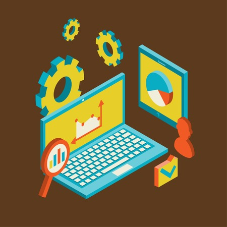 Isometric design modern vector illustration concept of website analytics and SEO data analysis using modern electronic and mobile devices illustration