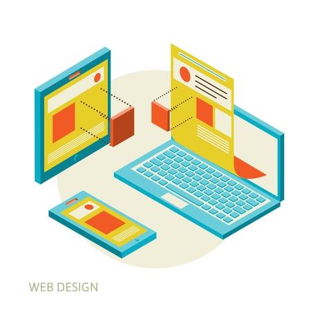 Isometric design of mobile and desktop website design development process