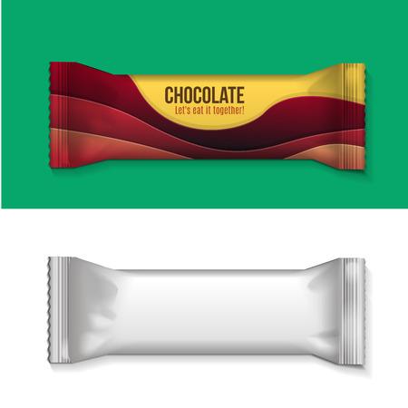 candy bar: Visiva di pianura bianco o trasparente flusso involucro di plastica foglio pacchetto, imballaggio o wrapper per biscotti, wafer, crackers, dolci, barra di cioccolato, candy bar, snack ecc Vector Vettoriali