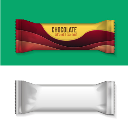 Vector visual of white or clear plain flow wrap plastic foil packet, packaging or wrapper for biscuit, wafer, crackers, sweets, chocolate bar, candy bar, snacks etc Vectores