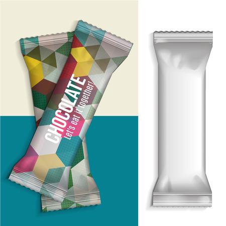 candy bar: Bianco Blank Snack Pack Foil Food For biscotti, wafer, crackers, dolci, barra di cioccolato, candy bar, snack ecc plastica pacchetto modello per la progettazione e branding. Vettore Vettoriali