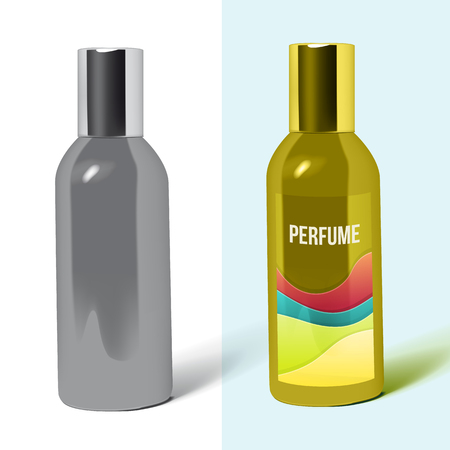 pearly: perfume bottle package isolated. Pack Template for your design and branding. Vector Illustration