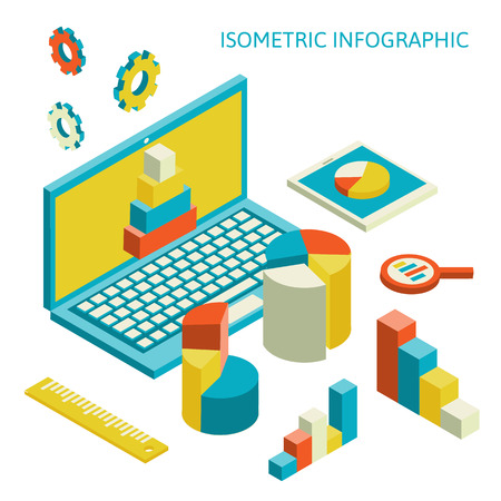 Flat 3d isometric business finance analytics, chart graphic report on tablet web infographic concept vector. Vector