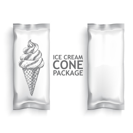 coppa di gelato: Bianco pacchetto gelato Blank. Confezione di plastica modello per la progettazione e branding. Vettore