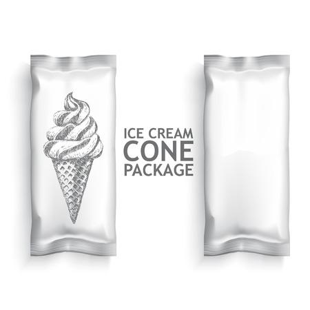 cono de helado: Blanca paquete helado en blanco. Paquete de plantillas de pl�stico para su dise�o y la marca. Vector