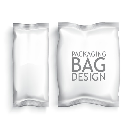 sachet: White Blank Foil Food Snack pack For Chips, Spices, Coffee, Salt, and other products. Plastic Pack Template for your design and branding. Vector