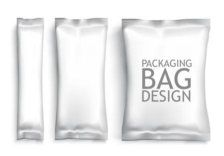 merienda: Paquete de Foil Blanco en blanco. Paquete de plantillas de plástico para el diseño y la marca. Vector