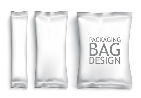 packets: White Blank Foil pack . Plastic Pack Template for your design and branding. Vector