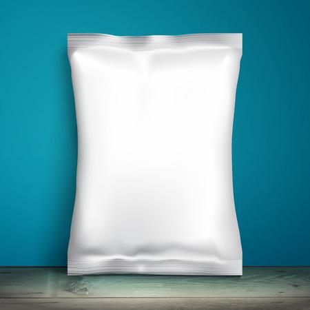 칩, 향료, 커피, 소금, 및 기타 제품의 모형 호일 식품 스낵 팩. 디자인 및 브랜드 플라스틱 팩 템플릿입니다. 벡터