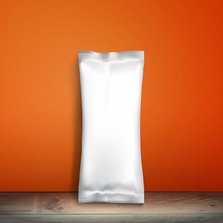 candy bar: Snack pacchetto Mockup Carta stagnola Cibi, imballaggio o wrapper per biscotti, wafer, crackers, dolci, barra di cioccolato, candy bar, snack ecc plastica pacchetto modello per la progettazione e branding. Vettore