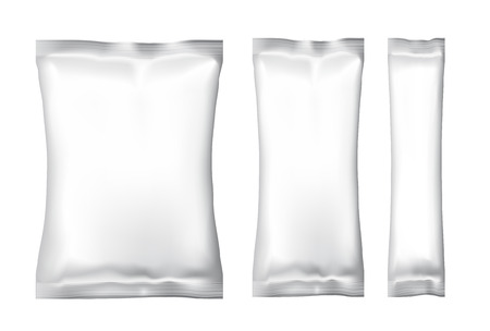 snack: White Blank Foil Food Snack pack For Chips, Spices, Coffee, Salt, and other products. Plastic Pack Template for your design and branding. Vector