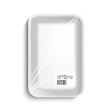 빈 포장 식품 트레이. 흰색 배경 위에 빈 플라스틱 용기, 벡터.