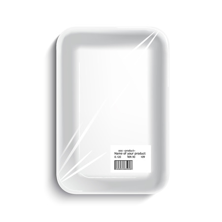 empty wrapped food tray. empty plastic container over white background, vector.