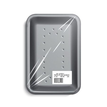 food tray: empty wrapped food tray. empty plastic container over white background, vector.
