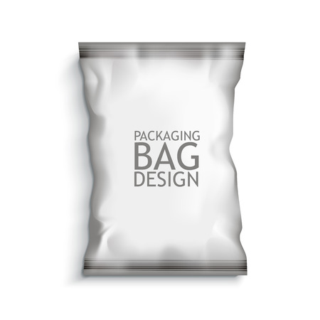 White Blank Foil Food Snack pack For Chips, Spices, Coffee, Salt, and other products. Plastic Pack Template for your design and branding. Vector