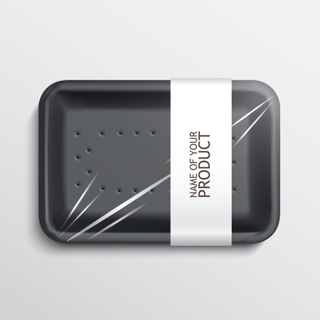 plastic container: empty wrapped food tray. empty plastic container over white background, vector.