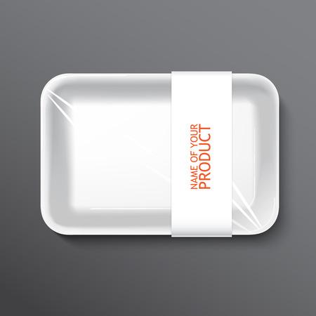 bandeja de comida: bandeja de comida envuelta vac�a. recipiente de pl�stico vac�a sobre fondo blanco, vector. Vectores