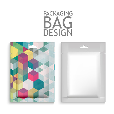 Mockup Blank Foil Packaging Sachet for Tea, Coffee, Sugar, Condoms, Drugs as well as Salt, Spices, Sauce, Shampoo, Gel etc. Plastic Pack Template for your design and branding. Vector