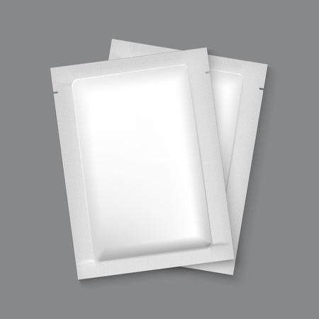 champ�: Maqueta en blanco sobre de aluminio Embalaje para el t�, caf�, az�car, condones, drogas, as� como la sal, especias, salsa, champ�, gel, etc. Pl�stico paquete de plantillas para el dise�o y la marca.