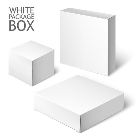 mockup: Cardboard Package Box. Set Of White Package Square For Software, DVD, Electronic Device And Other Products.  Mock Up Template Ready For Your Design.  Vector Illustration  Isolated On White Background.