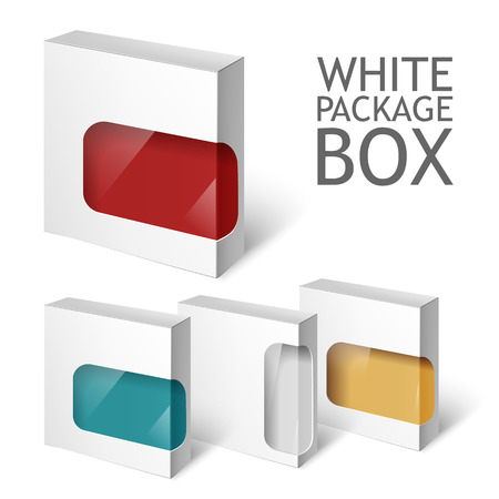 package design: Cardboard Package Box. Set Of White Package Square For Software, DVD, Electronic Device And Other Products.  Mock Up Template Ready For Your Design.  Vector Illustration  Isolated On White Background.