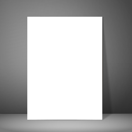 poster designs: Empty flyer design for your project. White paper standing on the surface and releases a shadow on the wall. It can be used for your presentations, posters, flyers and magazines. Vector illustration Illustration
