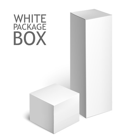 packaging: Cardboard Package Box. Set Of White Package Square For Software, DVD, Electronic Device And Other Products.  Mock Up Template Ready For Your Design.  Vector Illustration  Isolated On White Background.