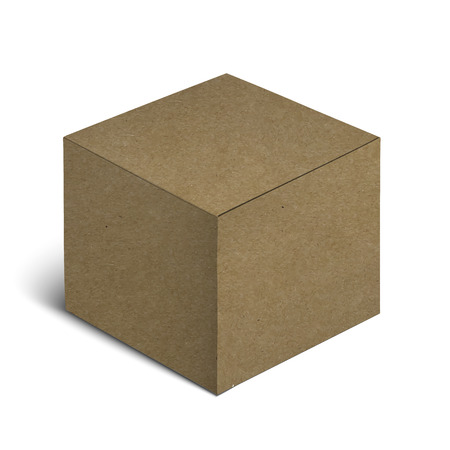 Empty Closed Realistic Brown Cardboard Box Icon On White Background. Vector Illustration
