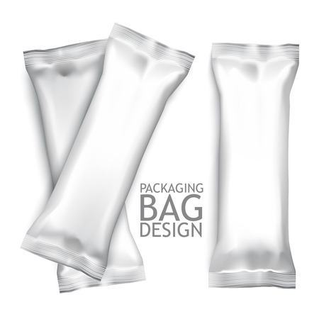 흰색 빈 호일 식품 스낵 팩 비스킷, 웨이퍼, 크래커, 디자인 및 브랜딩 과자, 초콜릿, 캔디 바, 스낵 등 플라스틱 팩 템플릿입니다. 벡터