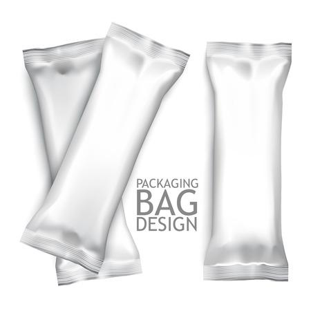 barra: Blanco en blanco Snack Pack Foil Alimentos Para Biscuit, Wafer, Galletas, Dulces, Chocolate Bar, Candy Bar, bocadillos, etc. Pl�stico Plantilla paquete para su dise�o y branding. Vector Vectores