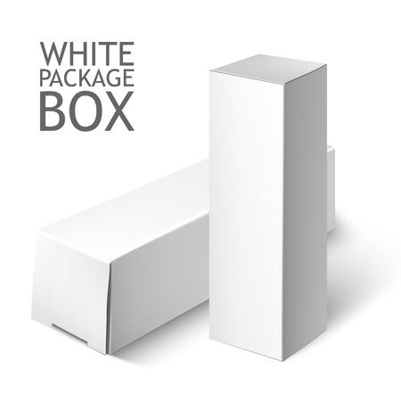 Karton Opakowanie Box. Zestaw biały kwadrat pakiet dla oprogramowania, DVD, sprzęt elektroniczny i inne produkty. Makieta szablon gotowy projekt. Ilustracja wektora samodzielnie na białym tle. Ilustracje wektorowe