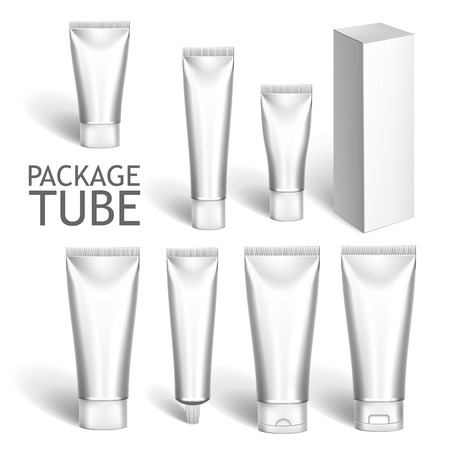 Set Of Colorful Realistic Tubes For Cosmetics Or Artistic Paint Isolated. Here Can Be Creams, Toothpaste, Gel, Sauce, Paint, Glue, Ointments, Lotions, Medicines. Use Mockup For Your Design Ilustrace