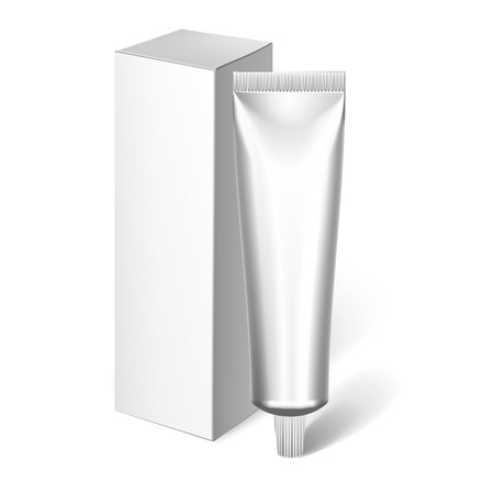 package design: Packing White Realistic Tubes And Package For Cosmetics Isolated On White Background. Here Can Be Creams, Toothpaste, Gel, Sauce, Paint, Glue, Ointments, Lotions, Medicines. Use Mockup For Your Design