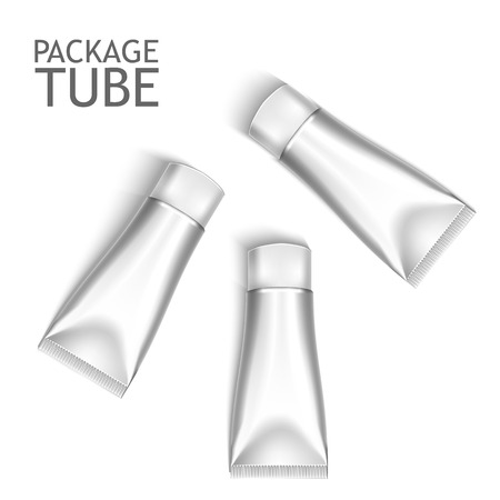 cosmetics products: Set Of Colorful Realistic Tubes For Cosmetics Or Artistic Paint Isolated. Here Can Be Creams, Toothpaste, Gel, Sauce, Paint, Glue, Ointments, Lotions, Medicines. Use Mockup For Your Design Illustration