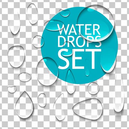 agua splash: Transparente Puro Clear Water Drops Conjunto realista. Listo para su dise�o. Ilustraci�n vectorial aislado Vectores